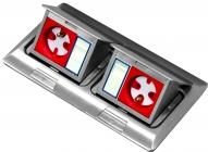 Puszka blatowo-podłogowa mini 2x3M wraz z ramką do montażu osprzętu 22,5x45 (45x45)