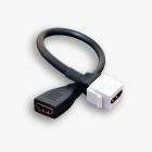 Gniazdo keystone typu HDMI 2.0 żeńskie na kablu, kolor biały/czarny