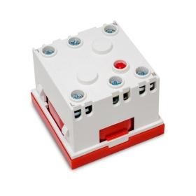 Gniazdo modułowe 230V z uziemieniem 1-krotne std 45x45, z blokadą i zwalniaczem, czerwone