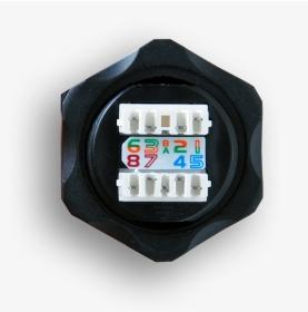 Gniazdo przemysłowe STP RJ45 kat. 6 keystone (110) czarne