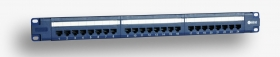 "Panel 19"", 24xRJ45 UTP kat.6 (1U) niebieski PoE"