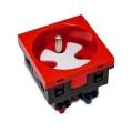 Gniazdo 230V z uziemieniem bezśrubowe 1-krotne std 45x45, z blokadą i zwalniaczem, czerwone